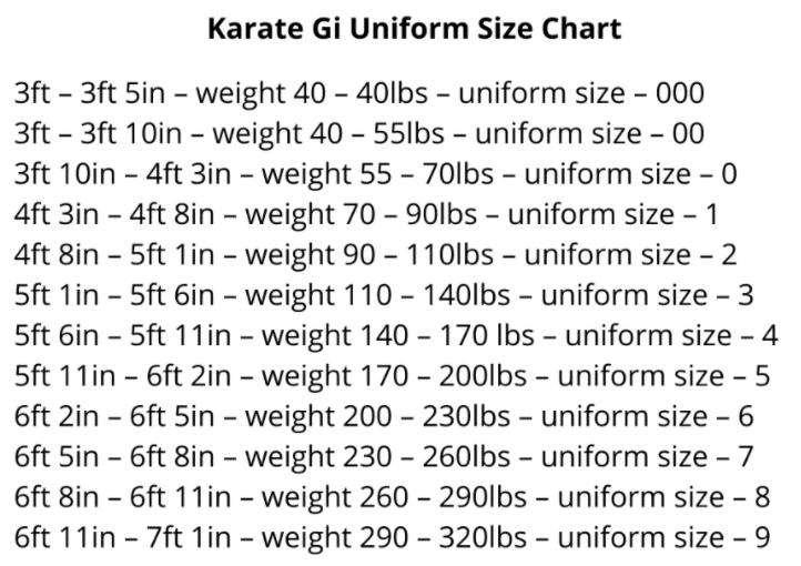 karate gi uniform size chart - lightweight karate gi