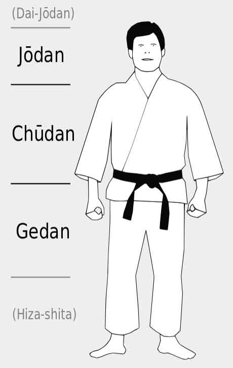 basic attack levels in Karate — Jōdan, Chūdan, and Gedan